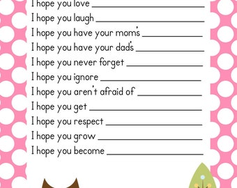 SALE Baby Girl Baby Owl Shower Game Wishes for Baby Advice Cards ! Instant Download Printable PDF ~ Baby Owl Pink Polka Dot Design
