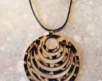 Animal Print - Wood Necklace - Wood Jewelry - Wood Jewlery - Wood Pendant - Wood Pendant Necklace - Animal Jewelry - Animal Necklace - Gift