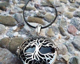Onyx Locket Pendant Tree of Life Silver Handmade Necklace Black Gemstone Jewelry