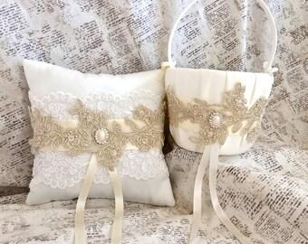 Gold flower girl basket, flower girl basket gold, gold flower basket, gold petal basket, gold flower girl basket and ring bearer pillow