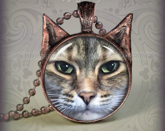 TBKBR27 Brown TABBY CAT necklace