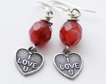 "Valentine's Day Gift Red and Silver ""I Love U"" Heart Earrings, Silver Heart Earrings, Red Earrings, Candy Heart Jewelry, Conversation Hearts"