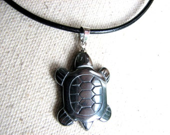 Hematite Necklace, Grey Stone Sea Turtle Necklace Mens or Women Beach Gifts Leather Necklace  Hematite Jewelry Turtle Pendant