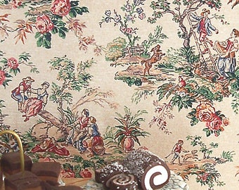 Dollhouse Miniature Wallpaper, Partie de Campagne, Scale One Inch