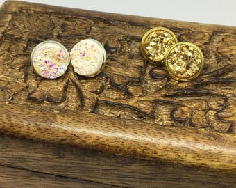12mm White Iridescent Chunky Faux Druzy Gold Druzy Stud Earrings Faux Druzy Studs Druzy Stud Earrings Chunky Druzy Druzy Earrings