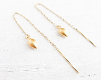 Gold Threader Earrings Goldfill Ear Threads Spike Earings in Gold Vermeil Earring Threaders Thread Earings Chain Earing Gold Filled Chains