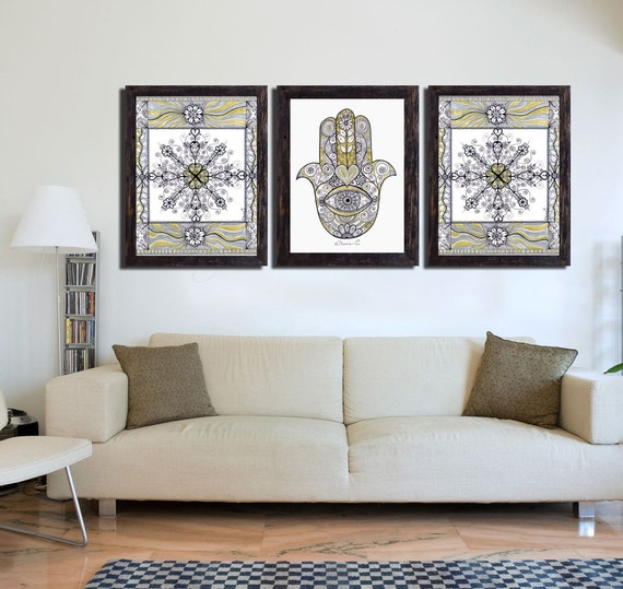 Hamsa hand mandala print 3 piece wall art decor golden