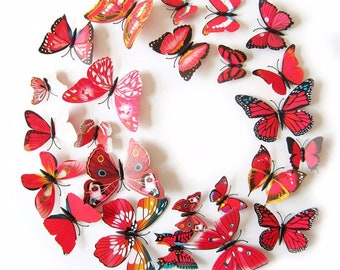 12Pc 3D PVC Butterflies Wall Stickers Decoration Wedding Cake Toppers Home Decor School Craft DIY  -  Red Shades
