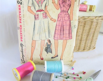 Vintage Pattern, Vintage Dress Pattern, 40s Pattern, Simplicity, Pattern, 40s Dress, Vintage, Simplicity 1578, Vintage Dress, Plaid Dress