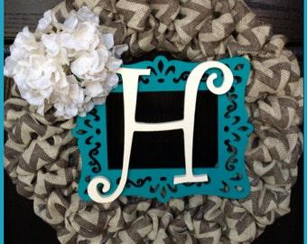 SPRING SPECIAL!!Chevron Burlap Wreath with Initial, Frame and Burlap Hydrangea-Front Door Wreath-Monogrammed Wreath