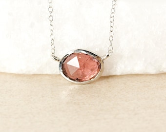 Deep Coral Pink Tourmaline Necklace - Sideway Oval Pendant - Connector Necklace