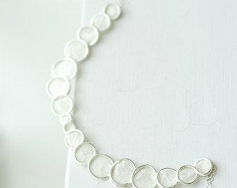 White Necklace, Bubble Jewelry, Minimalist Necklace, Paper Jewelry