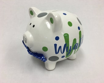Personalized ceramic Piggy Bank with name, polka dots - baby shower gift, children, ring bearer, flower girl