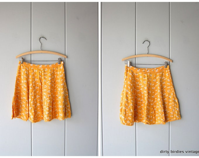 90s Yellow Floral Mini Skirt Revival High Waist Preppy Soft Rayon MiniSkirt Daisies Vintage Flirty Skirt Womens XS Small