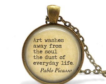 Inspirational Quote Necklace Pablo Picasso Art Quote Pendant Art Teacher Gift Inspiration Jewelry Inspirational Art Quote Keychain