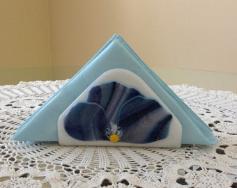 Napkin Holder Fused Glass Pansy