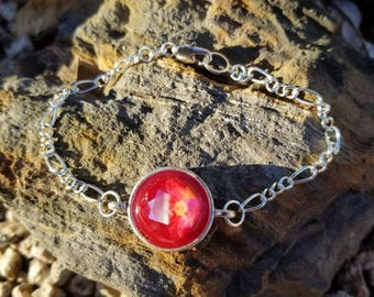 Atomic Fireball Pendant Bracelet  / swarovski crystal  / gift idea / One of a kind