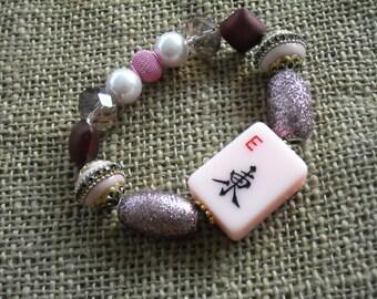 Mahjong Bracelet - Pink  Mahjong - Jesse James Jewelry -  Oriental Jewelry -  Mahjong Gift - Mahjong Tile - Mahjongg Gift