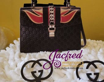 Designer Inspired Black with flames favor bag