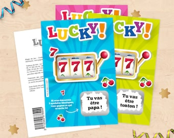 Scratch announcement pregnancy - Style game ticket scratch for Dad, uncle, aunt, grandmother and grandfather card!
