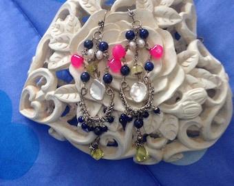 Chandelier earrings with multicolor gemstones