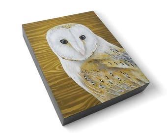 Barn Owl painting -  woodland owl art - realistic wildlife painting - metallic gold wood grain