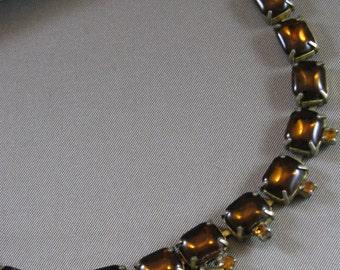 Vintage Topaz Glass Princess Necklace