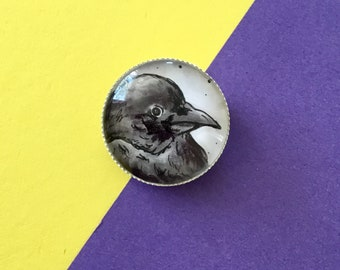 Handmade Raven Badge - Pin - Brooch - Jewellery - OOAK - Cabochon - Gemsville - Birds - Crow - Portrait - Caricature