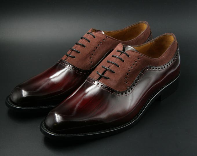 Featured listing image: Leather men patina shoes, red wood effect and marsala suede, Oxford, hand painted, made in Italy
