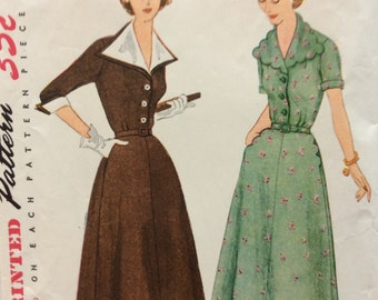 Simplicity 3767 misses shirtwaist dress size 14 bust 32 vintage 1950's sewing pattern