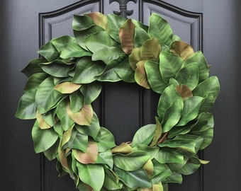 Realistic Magnolia Wreath, Fixer Upper Magnolia Wreath,  Magnolia Leaf Wreath, Year Round Magnolia Wreath, Full Magnolia Wreath
