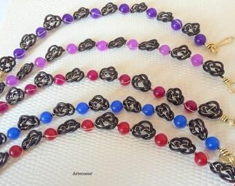 Bracelet ethniques de style celte fil de cuir marron Agate tintée couleur au choix fil de cuivre doré cadeau anniversaire
