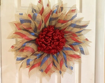 Red Blue and Burlap Color Starburst Flower Wreath - Patriotic 4th of July Independence Day Door Decor