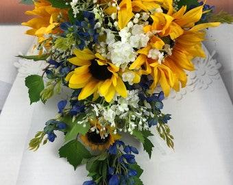 NEW Silk Sunflower & Texas Bluebonnet Country Wedding, Rustic Wedding Bouquet