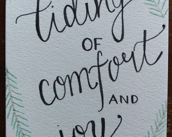 Tidings of comfort and joy with pine | Handlettered painting | Christmas decoration | Holiday decoration | Wall art | Original