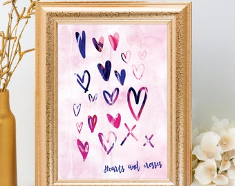Hearts and Crosses, Mother's Day Print, Pink watercolour, doodle hearts, abstract home decor, watercolour poster, love print, galentines