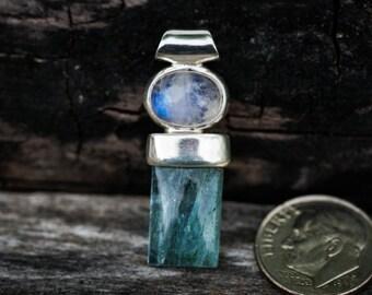 Aquamarine & Moonstone pendant ~ Little Aquamarine Moonstone Pendant ~ Aquamarine March birthstone - Aquamarine Rainbow Moonstone