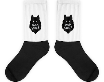 Im A Wolf Socks Crew Socks Wolf Face Black and White