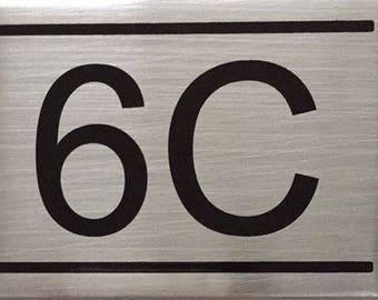 Apartment Number Sign -6C -Brushed Aluminum (2.25x3, Aluminium))