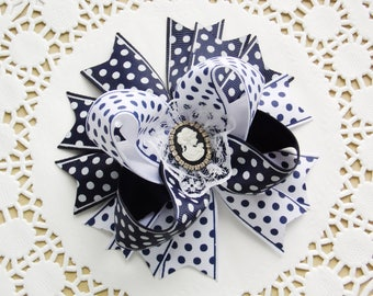 Polka Dot Hair Bow Girls Hair Bows School Bow Blue And White Back To School Bows School Uniform For Girls School Hair Accessories For Girls