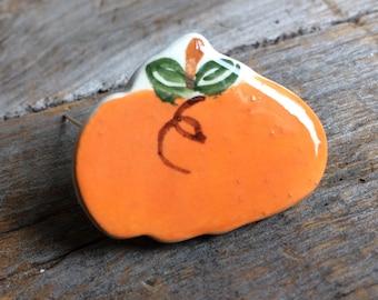 Pumpkin Pin, Pumpkin Brooch, Thanksgiving Pin, Thanksgiving Brooch, Handmade ceramic Thanksgiving Jewelry Thanksgiving Gift, Under 5