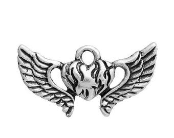10 heart charms and antiqued silver wings