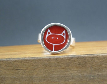 Red Enamel Stick Kitty Ring - Sterling Silver and Vitreous Enamel with Original Cat Drawing