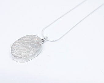 Oval Textured Pendant Necklace
