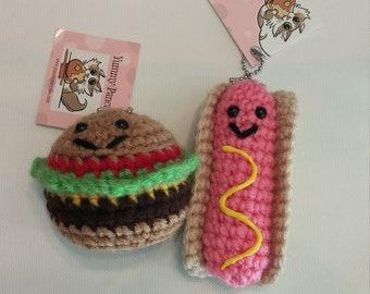 Set of 2 BFF Keychains - Hot dog and Hamburger