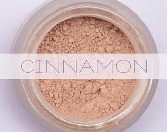 Mineral Makeup Foundation ~ CINNAMON ~ For deep skin tones - cool to neutral undertone - Acne Safe - Cruelty Free, Vegan Friendly, Non Nano