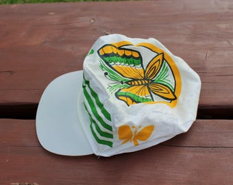 Soviet vintage butterfly cap 1987 Soviet summer cap Funny retro hat UNUSED with label Gift for butterfly lover Funny trucker cap
