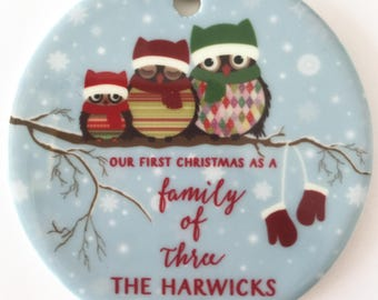 Our First Christmas as a Family of Three Mommy & Daddy Ornament Owl Family of 3 Ornament Personalized Christmas Ornament New Parents Gift