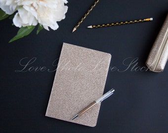 Black & Gold Classy journal flatlay - Set #3 Includes 5 images