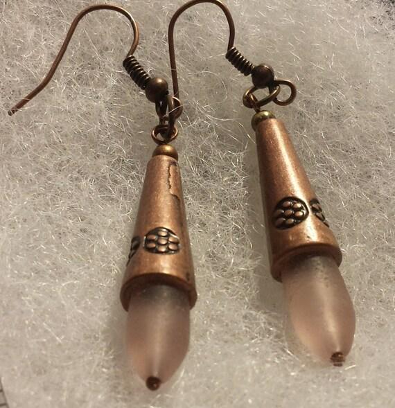 Pink Sea / Beach Glass Copper Earrings